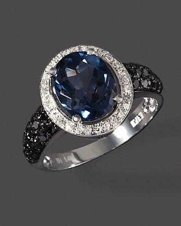 Diamond, Black Diamond & London Blue Topaz Ring / 14K White Gold
