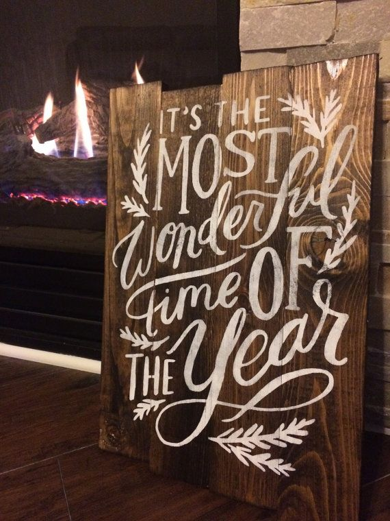 It's the most wonderful time of Year Christmas Holiday Pallet Sign