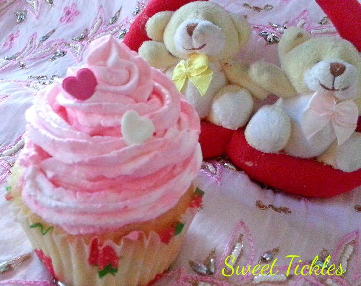 Strawberry and vanilla swirl cupcake a perfect treat for valentine.