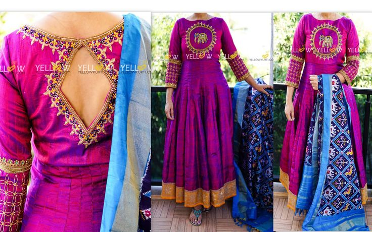 Pure rawsilk purple anarkali with intricate handwork teamed up with Ikkat silk dupatta . More dupattas here : http://www.yellowkurti.com/Ikat-catid-963105-page-1.htmlKindly private message us here on Facebook or whatsapp us at 8686027999 for getting your dress customised as per your choice. Cheers !  21 October 2016