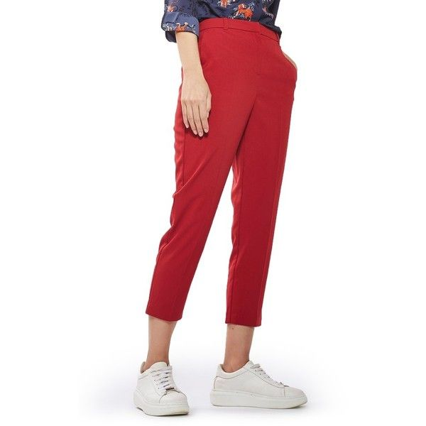 Petite Women's Topshop Cigarette Trousers (2.700 RUB) ❤ liked on Polyvore featuring pants, capris, brick, petite, cigarette trousers, white pants, white crop pants, cropped trousers and petite pants