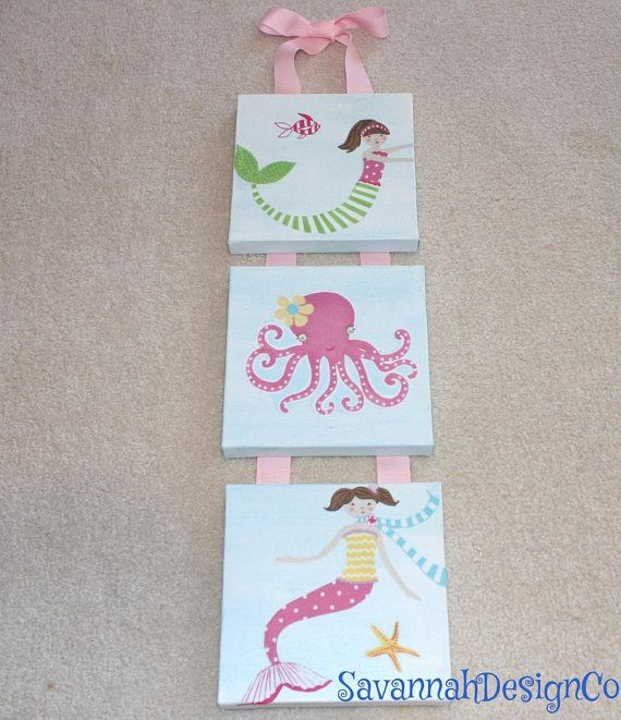 3pc Mermaid Canvas Art matches Pottery Barn by SavannahDesignCo, $26.00