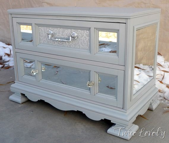 rescued chest turned into mirrored love the idea of adding mirrors - Mirrored Dresser Cheap