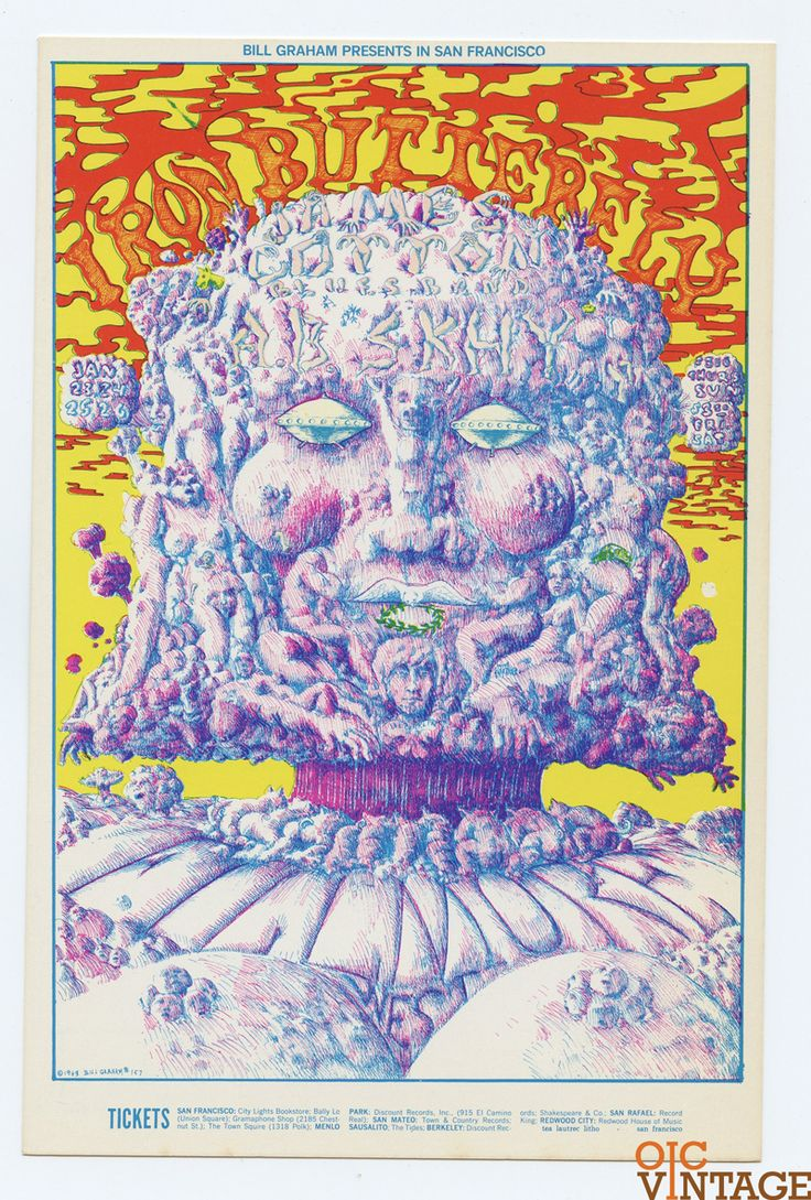 Bill Graham 157 Postcard Ad Back Iron Butterfly James Cotton Blues Band 1969 Jan 23