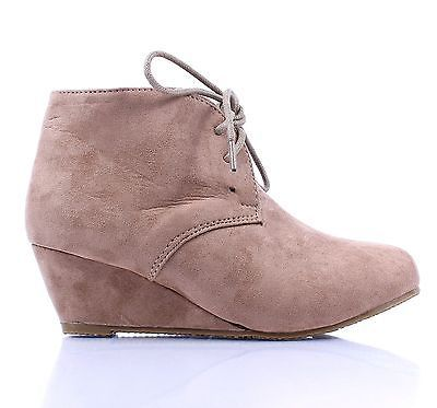 Taupe Lace Up Girls Wedge High Heels Kids Ankle Boots Youth Shoes Size 12