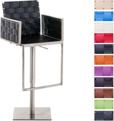 Edelstahl Design Barhocker MOSKAU Mit Armlehne Kunstleder, Metallgestell In  Chromoptik, Höhenverstellbar 53   78