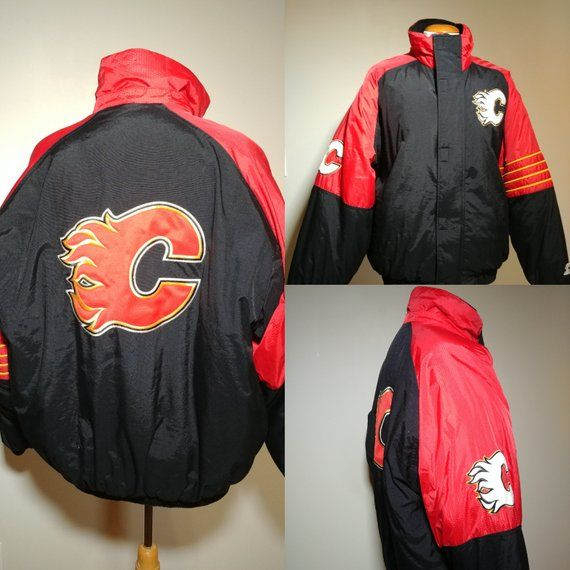 finest selection 822d8 60174 Vintage Calgary Flames Starter Puffer Jacket/ Retro 90's NHL ...