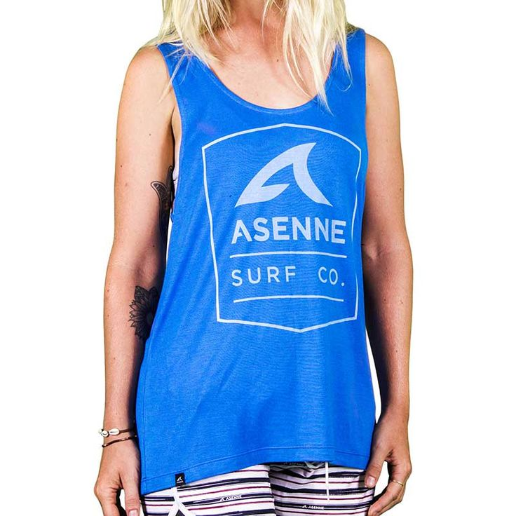 Asenne Surf Co. women's singlet is hand made of high quality 100% rayon. Light Blue color with super white print. Regular fit. Premium feel.