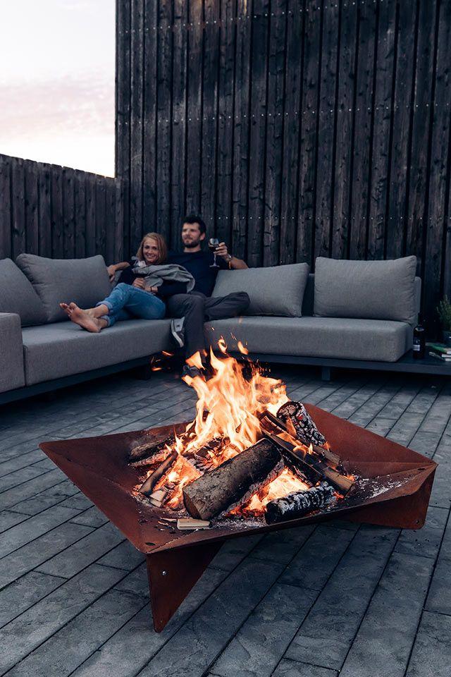 Hofats Triple 90 Feuerschale Corten Stahl O 90cm Terrasse Lounge Terrassengestaltung Feuerschale