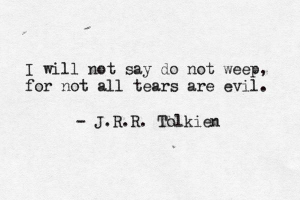 I will not say do not weep, for not all tears are evil. -J.R.R. Tolkien