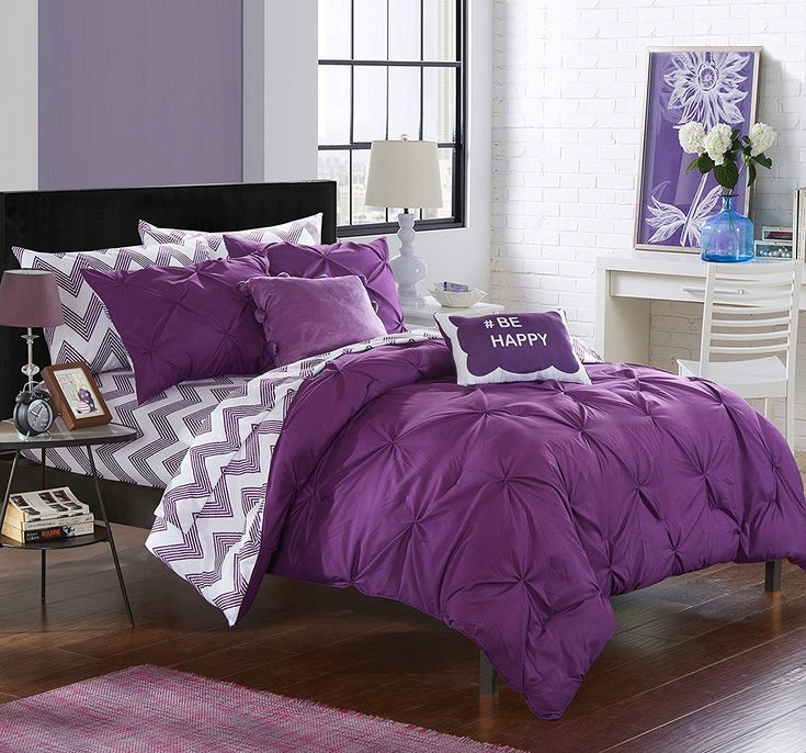 Purple Bedding ideas - Chic Home 9 Piece Louisville Pinch Pleated and Ruffled Chevron Print Reversible Bed In a Bag Comforter Set Sheets, Full, Purple at luxcomfybedding.com