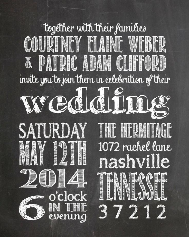 Chalkboard Wedding Invitation DIY Printable. $35.00, via Etsy.