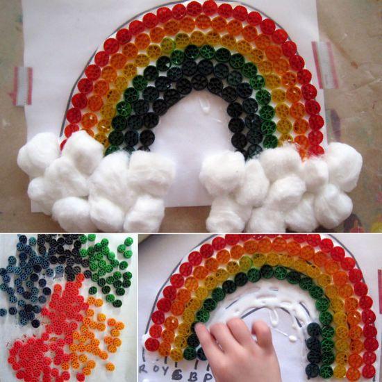 Arcoiris con pasta de colores