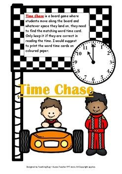 This resource is focused on identifying o'clock and half past times. This board game incorporates both analogue and written times.* Students move around the board using a spinner or dice and attempt to match the analogue clock time, with the correct written time card. * Can be enlarged to A3 size