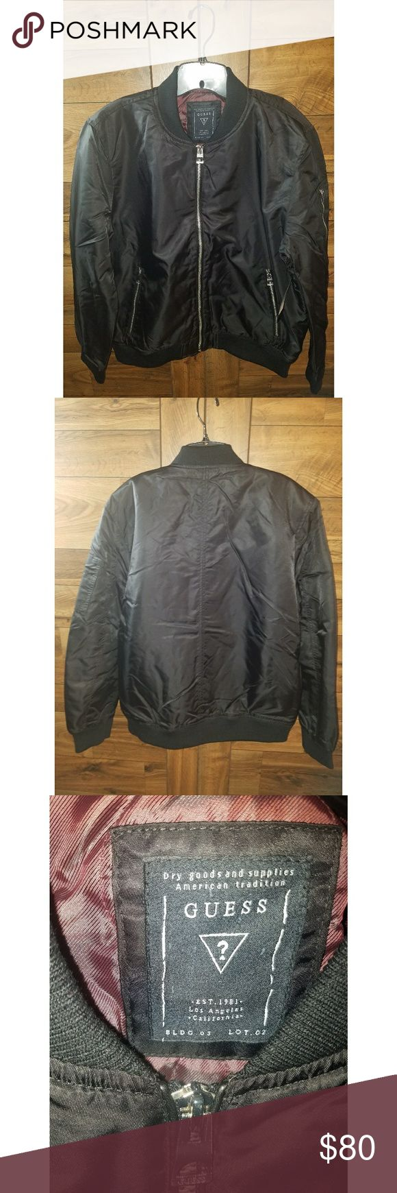 NEW Guess Men's Size XL Black Harvey Bomber Jacket Nylon bomber jacket with quilted lining, faux-leather piping and high-shine hardware.  Shell: 100% Nylon. Lining and filling: 100% Polyester.Machine wash  This is currently sold out online.  I BUNDLE! Check out my other listings 😉 Guess Jackets & Coats Bomber & Varsity
