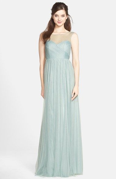 Jenny Yoo 'Aria' Illusion Yoke Pleated Tulle Gown available at #Nordstrom