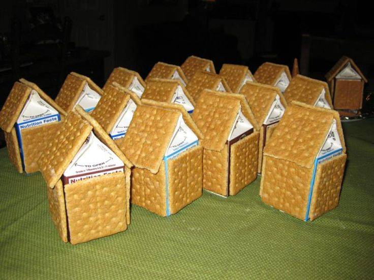 Christmas Homes made with mini milk cartons inside! Great for snacking after crafting :)