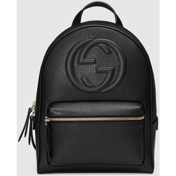 Gucci Soho Leather Chain Backpack (4.900 BRL) ❤ liked on Polyvore featuring bags, backpacks, gucci, accessories, black, leather backpack bag, chain strap backpack, leather bags and genuine leather bags