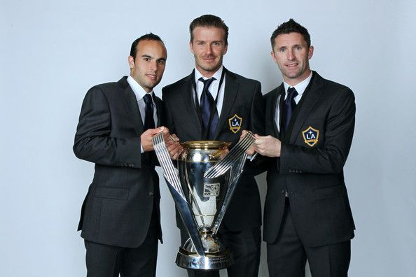 Los Angeles Galaxy DP's Landon Donovan, David Beckham and Robbie Keane after the 2011 MLS Cup