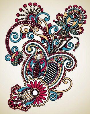 Dibujar a mano la línea de arte del diseño de flores ornamentales. Estilo tradicional ucraniana. Foto de archivo