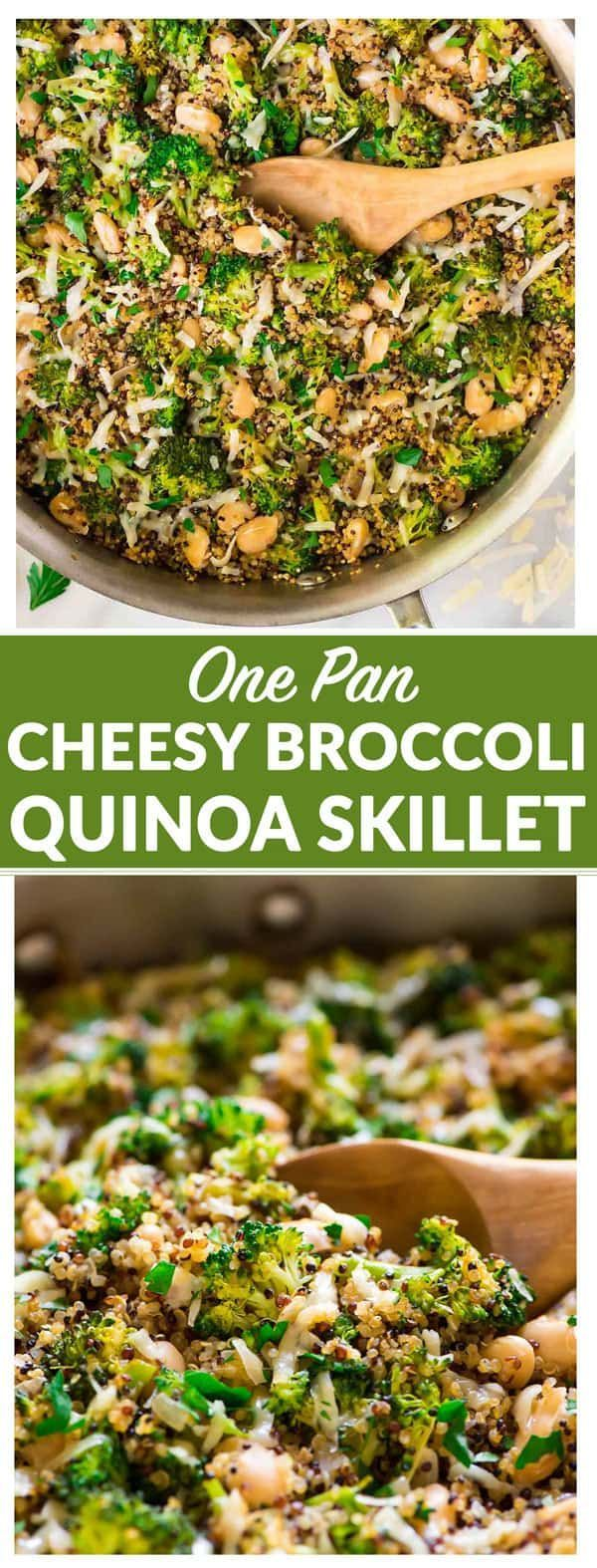 One Pan Cheesy Broccoli Quinoa Skillet with Parmesan and White Beans. An easy and filling vegetarian recipe that's great for quick dinners and healthy meal prep lunches. #vegetarian #glutenfree #healthy via @wellplated