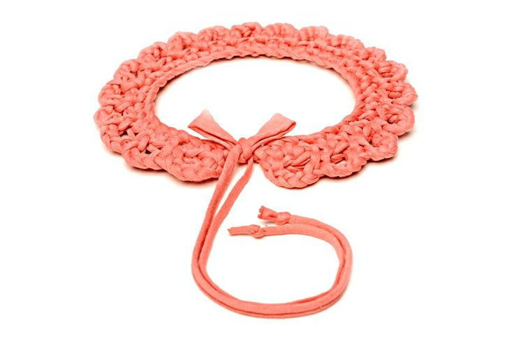 Maccheron 100% Fabric Crochet Collar (salmon) - Designed and handmade with ♥ ...in Budapest ...by me :-) Like my page on FB: www.facebook.com/Maccheron