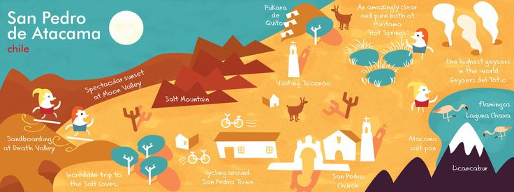 Driest Desert in the World,  Maps illustrated San Pedro de Atacama, Chile - Carolina Celis    http://www.carocelis.com  THEY DRAW AND TRAVEL