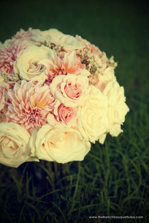 Dahlias and roses. love them. In season when peonies aren't.  Really nice for a late summer/fall wedding boquet.