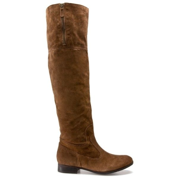 Franco Sarto Rapid Over the Knee Boot - Brown Suede (38.890 CLP) ❤ liked on Polyvore featuring shoes, boots, over-the-knee boots, suede thigh-high boots, brown over-the-knee boots, franco sarto boots, over-the-knee suede boots and brown boots