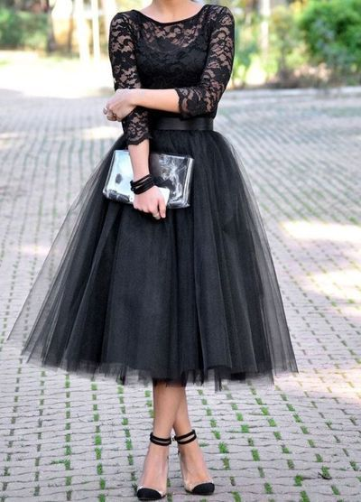 A436 Black Lace Long Sleeve Evening Gowns, Tea Length A Line Evening Gowns,Long Tulle Evening Gowns