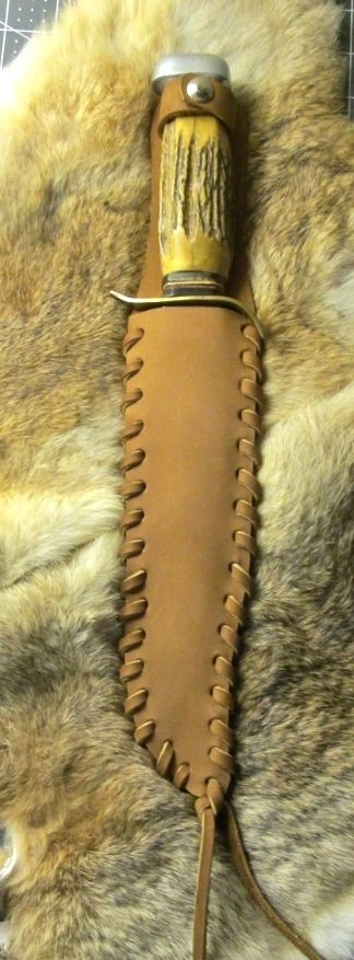 Large Laced Edge Medium Brown Leather Bowie Knife Case Scabbard  #handmade