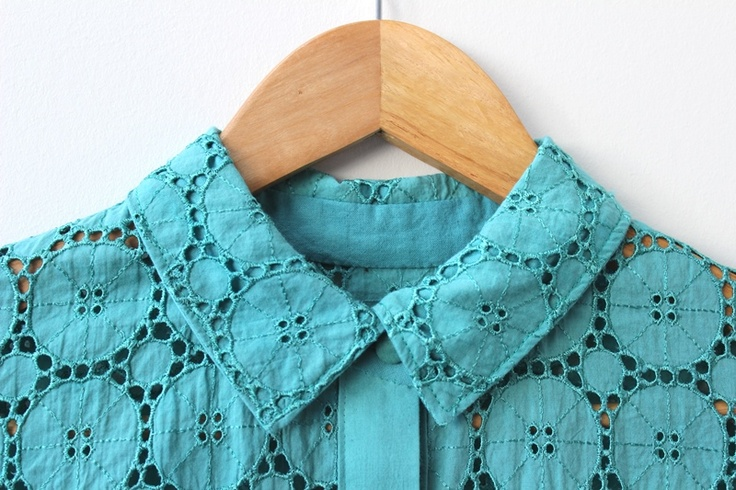 The Fabric Store | Cotton Broderie Anglaise Dyed Teal