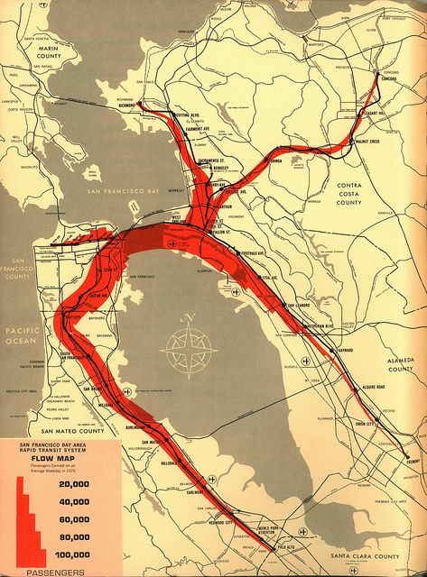 San Francisco Bay Area Rapid Transit System Flow Map (1961) | Flickr - Fotosharing!