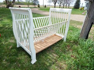 Baby crib turned donkey or goat hay feeder!