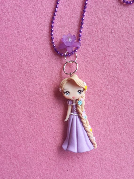 Rapunzel fimo Necklace polymer clay by Artmary2 on Etsy, €12.00