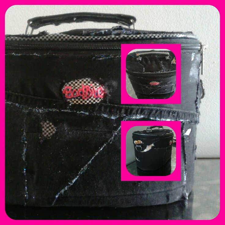Upcycled vanity case.......recovered with black denim, printed tape and of course....glitter!!!! X