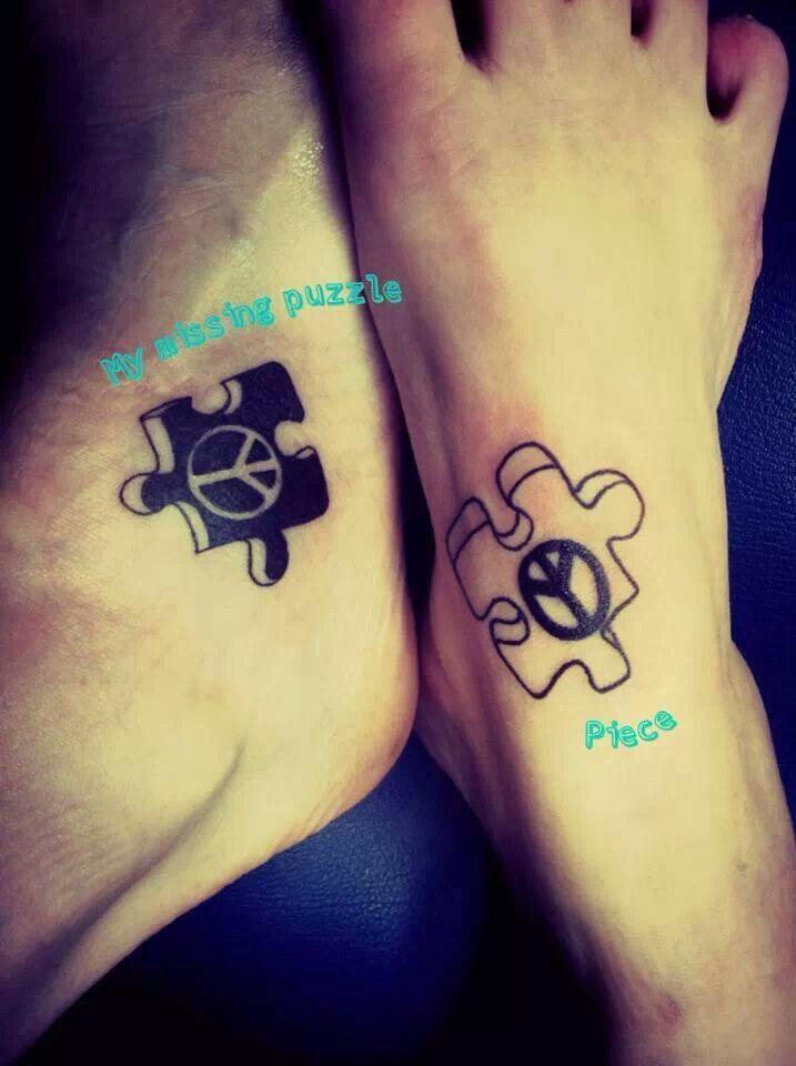 Kara Lori peace sign puzzle piece tattoos