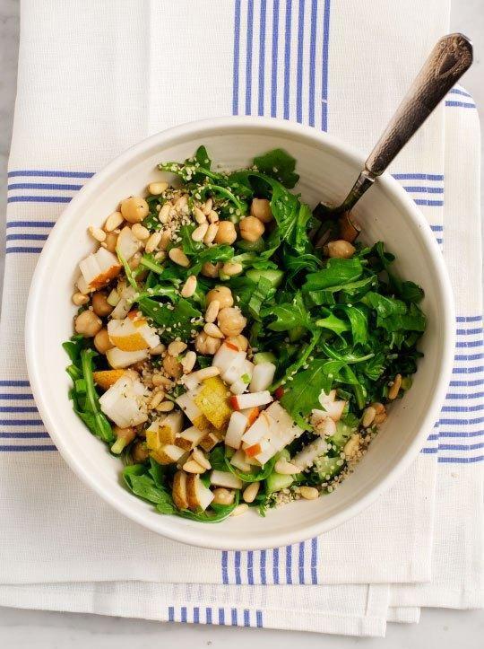 How To Go Vegan: 12 Easy Beginner Tips - Pear and arugula chickpea salad via @LoveAndLemons   StyleCaster