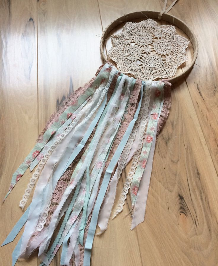 Shabby, lovely dusty pink, aqua, white one of a kind fabric, doily and lace large size dream catcher, nursery bedroom dorm decor by Sewology101 on Etsy