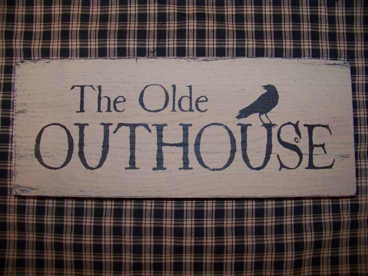 primitive images free | Primitive The Olde OUTHOUSE WOOD SIGN Crow Bathroom Decor COUNTRY BATH ...