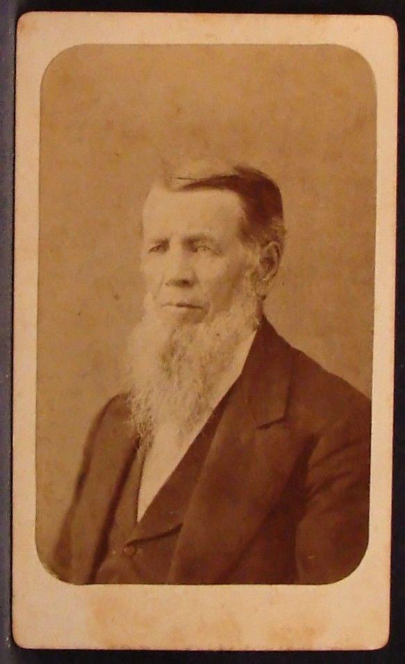 CDV Photo Man Long White Beard No Mustache by Shaw Chagrin Falls Ohio OH