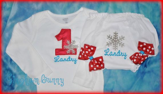 Custom ONESIE and BLOOMER  Winter Onederland by ginghambunny