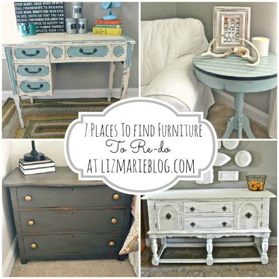 7 places to find furniture to re-do {For free to cheap!}- lots of tips and tricks on finding furniture ! To paint and makeover the way you want it ! And this blog also has other great tips & tutorials on the simple ways to re-do furniture! by @Lizmarieblog.com