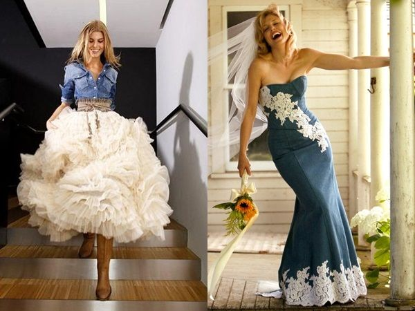 Darn it. I already have my dress bought, but isn't a denim wedding dress so much fun AND comfortable? :)