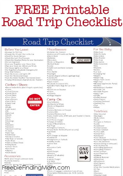 Free Printable Road Trip Checklist - Eliminate the stress of getting ready for your road trip by utilizing this comprehensive checklist. It includes everything you need from clothes and shoes, accessories, toiletries and more. Plus it provides helpful reminders of tasks to complete before you leave.