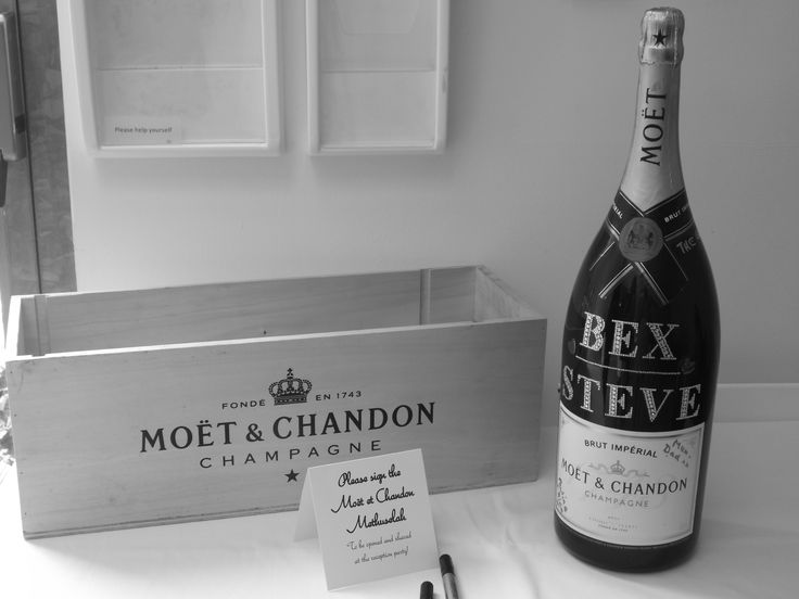 Signed champagne bottle guestbook