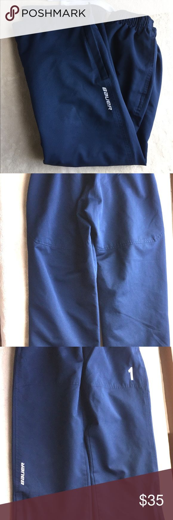 Bauer Boys Hockey Pants Size Sm Authentic Bauer Hockey Pants Boys Size Small.  Navy Blue.. In perfect condition except the number 1 is embroidered on the front. These were purchased by us and worn by our son. Please check out our other listings! Bauer Bottoms Sweatpants & Joggers