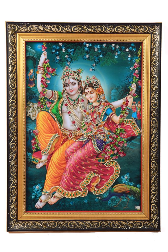 RadheKrishna Decorated with Artificial Diamonds and Coloured Stones and framed luxuriously, A must have for home decor.....!