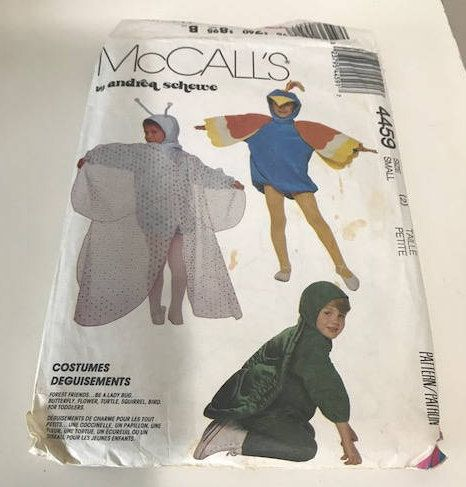 Sz 2 Toddler to Size 6 McCall's 4459 Vintage Toddler Costumes Pattern of Butterfly, Flower, Turtle, Squirrel, and a Bird by Andrea Schewe by GenesisVintageShop on Etsy