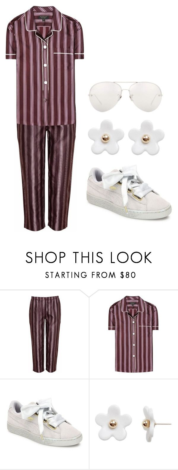 """Pajama all day"" by ale-pink5 ❤ liked on Polyvore featuring Burberry, Puma, Poporcelain and Linda Farrow"
